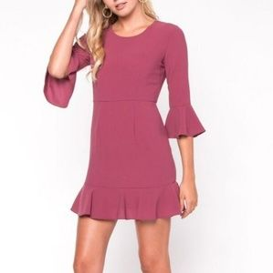 Everly Magenta Tone Ruffle Shift Dress Size S